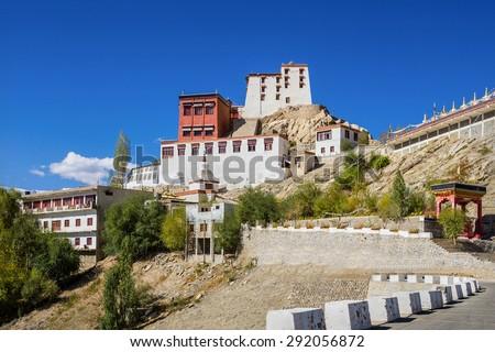 Thiksey Monastery is a Tibetan Buddhist monastery in Ladakh, India. - stock photo