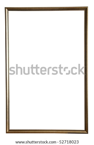 thin gold picture frame, isolated with clipping path - stock photo