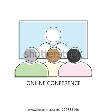 Thin line icon of Business communication promo marketing conference online. Modern flat line design element  isolated vector illustration - stock photo