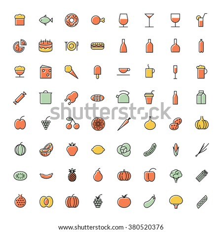 Thin line icons for food and drinks. - stock photo