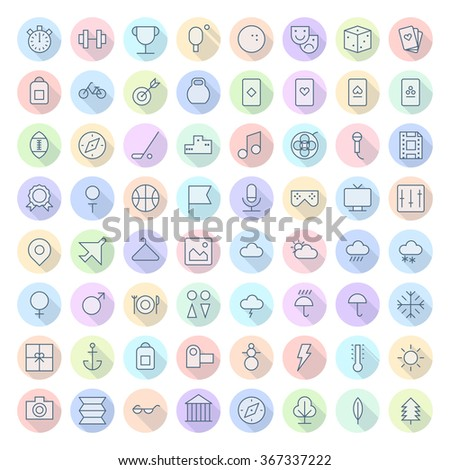 Thin Line Icons For Leisure, Sport, Travel and Weather. - stock photo