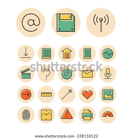 Thin line icons for user interface and technology. - stock photo