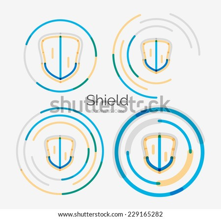 Thin line neat design logo set stock illustration for Modern cleaning concept