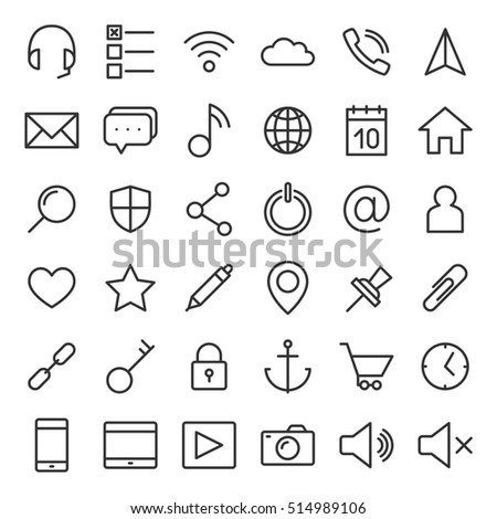 Thin lines web icons set for mobile apps and websites