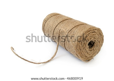 Thin natural rope isolated on white background - stock photo
