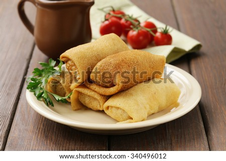 thin pancakes with meat on the plate, Russian cuisine - stock photo