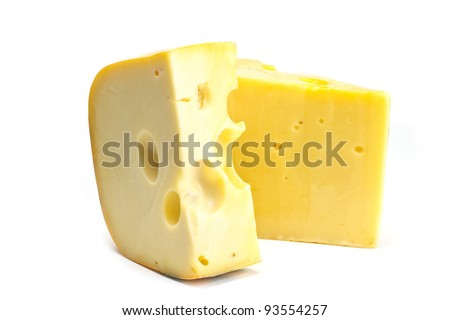 Thin piece of cheese close up on a white background