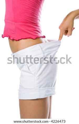 thin waist woman in big shorts over white