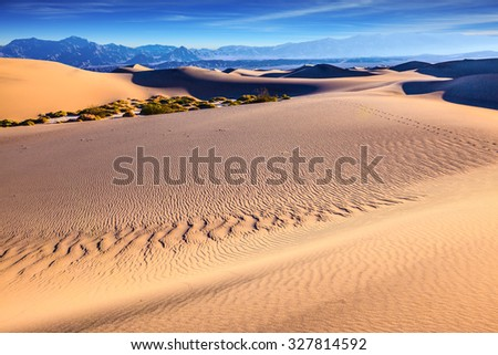Thin waves on the sand  in Mesquite Flat Sand Dunes. Bright sunny morning in a picturesque part of Death Valley, USA - stock photo