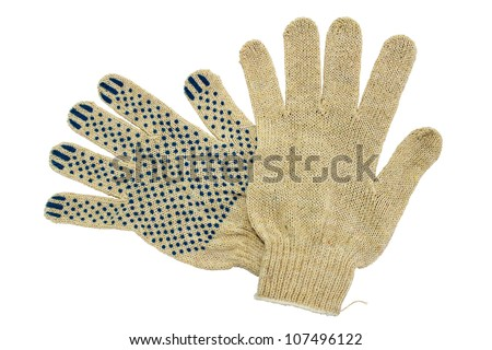 Thin work gloves isolated on white background. - stock photo