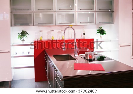 things and details of a modern kitchen - stock photo