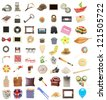 things collection vintage objects isolated white background - stock photo