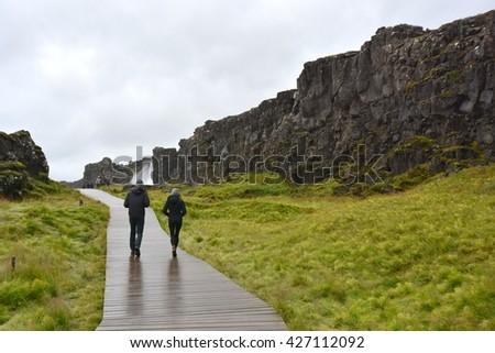 THINGVELLIR, ICELAND- SEPTEMBER 9: Thingvellir National Park in Iceland on September 09, 2015.  - stock photo