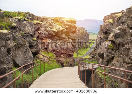 Thingvellir National Park - famous area in Iceland right on the spot where the atlantic tectonic plates meets. UNESCO World Heritage Site - stock photo