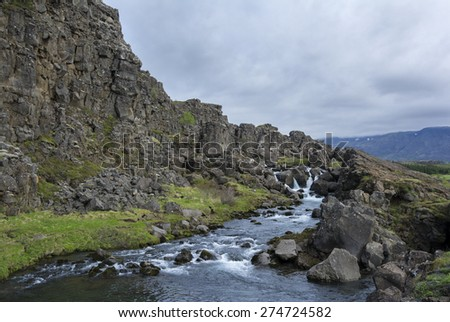 Thingvellir National Park is a famous location in Iceland. Also famous for beig the scenery of several films and TV shows (for example the famous TV show Game of Thrones) - stock photo
