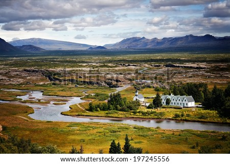 Thingvellir plain in Iceland, an important historic site and a popular travel destination