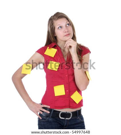 Think busy secretary - stock photo