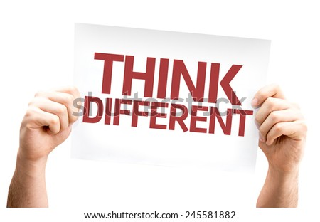 Think Different card isolated on white background - stock photo
