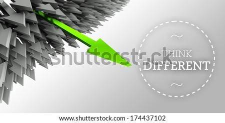 Think different with arrow individuality concept - stock photo