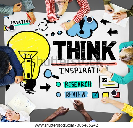 Think Inspiration Knowledge Solution Vision Innovation Concept - stock photo
