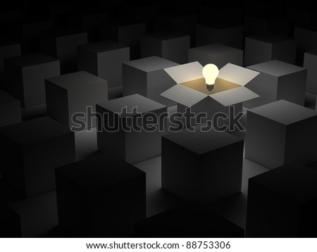 Think out of the box or thinking outside the box and Individuality concept, one glowing light bulb float over opened cardboard box - stock photo
