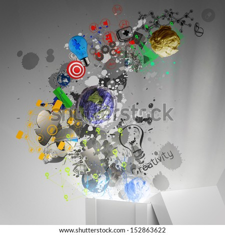 think outside the box as creative and leadership concept - stock photo