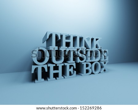 Think outside the box 3D letters - stock photo