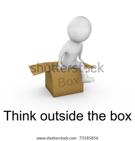 Think outside the box with text - stock photo