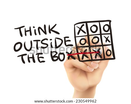 think outside the box written by hand on a transparent board - stock photo