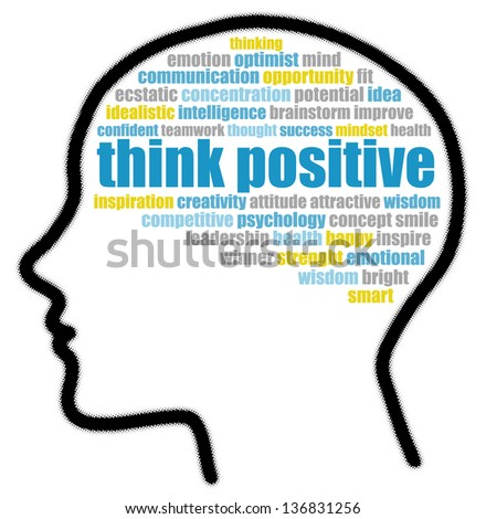 Think positive in speech bubble - stock photo