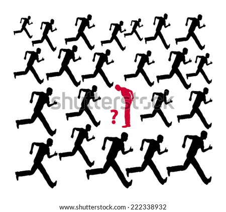Think Twice. Do not follow the crowd or the common run of mankind - stock photo
