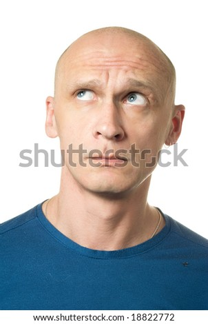 Thinking about something bad. Portrait from bald man facial expressions series. Isolated on white