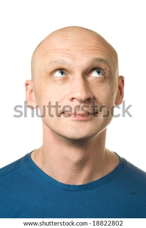 Thinking about something good. Portrait from bald man facial expressions series. Isolated on white