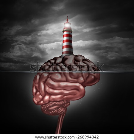 Thinking and education direction concept and training and development symbol as a lighthouse icon on an island shaped as a brain for business learning or psychiatric and psychological assistance. - stock photo