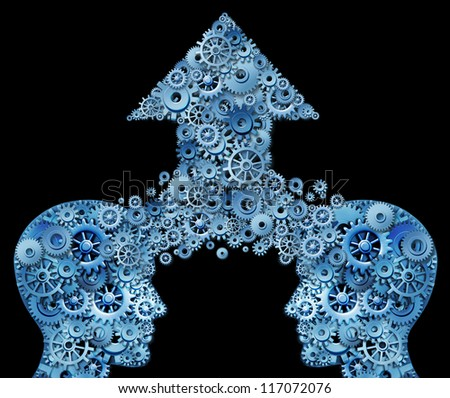 Thinking as a team for success in a corporate partnership and business teamwork growth idea with two human head shapes merging together in an arrow of gears and cogs as a financial symbol on black. - stock photo