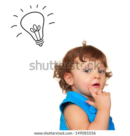 Baby girl with idea light bulb above head isolated on white background