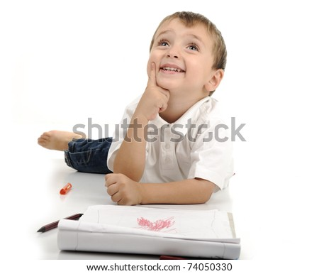 thinking boy - stock photo
