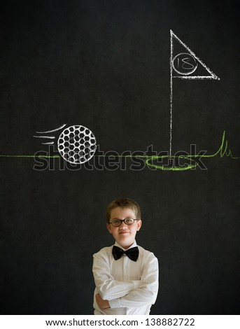Thinking boy dressed up as business man with chalk golf ball flag green on blackboard background - stock photo