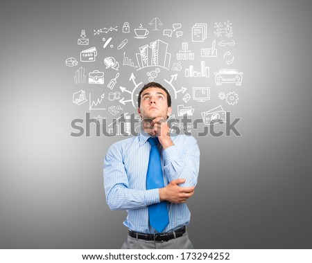 thinking business man, sketch on the background - stock photo