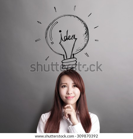 Thinking business woman and look idea lightbulb isolated on grey background, asian beauty