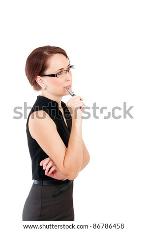 thinking business woman with a pen isolated on white background - stock photo