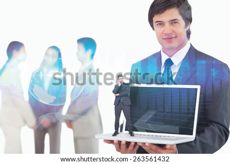 Thinking businessman against global business graphic in blue - stock photo