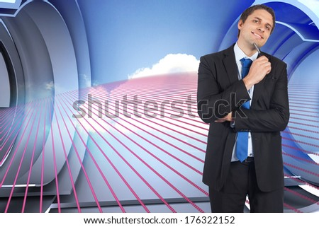 Thinking businessman holding pen against pink pattern with cloud design on a futuristic structure