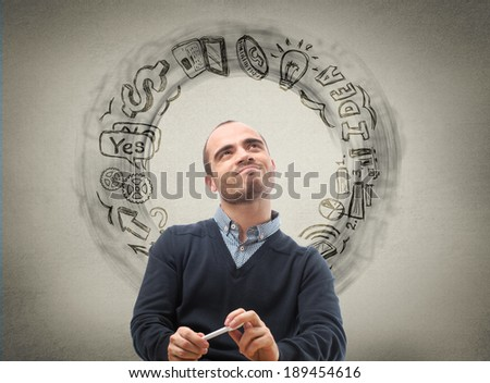 Thinking businessman, sketch with business icons on the background - stock photo