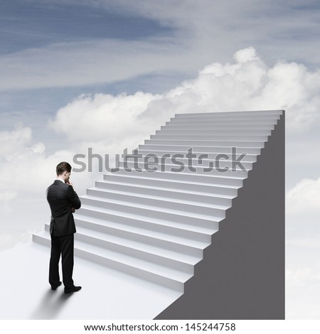 thinking businessman standing near ladder in sky