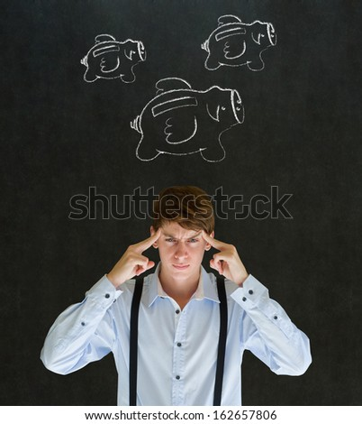 Thinking businessman with flying money piggy banks in chalk on blackboard background - stock photo