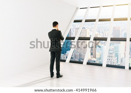 Thinking businessperson in white interior with panoramic windows and city view. 3D Rendering