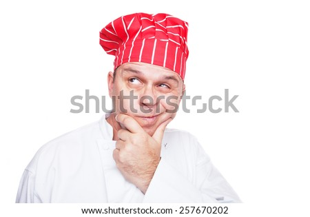 Thinking chef with red hat, isolated on white background - stock photo