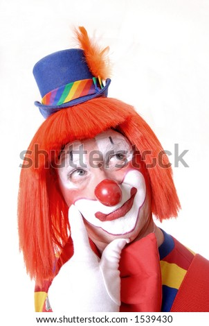 Thinking Circus Clown - stock photo