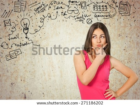 Thinking. Contemplative Young Asian Woman - stock photo